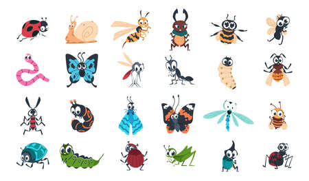 Cartoon funny insects. Colorful cute bugs characters set with smiling faces, snail, spider and caterpillar, little ant, butterfly and comic dragonfly, bumblebee and mosquito vector isolated collection