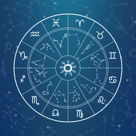 Astrology magic circle. Zodiac signs on horoscope wheel. Round shape with zodiacal animals icons and constellations. Predicting future, forecasts by stars.