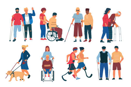 Disabled peoples with friends. Cartoon men and women with physical disorder, limited mobility. Characters in wheelchairs and with canes. Handicapped persons with partners. Social support, vector set