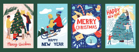 Christmas greeting cards. Winter holidays banners. Cartoon people decorate fir tree at home or outside. Cute children sledding. Xmas postcards with wishes and congratulation text. Vector New Year set Illustration