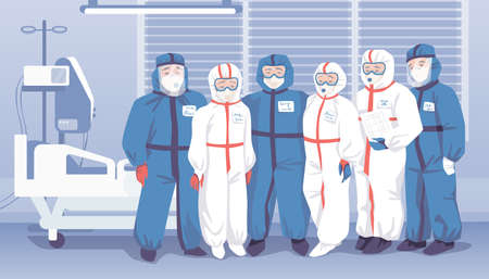 Doctors in hospital. Medical workers wearing uniform, people in overalls, masks and goggles. Special clothing for clinic staff working with infectious patients. Protection suits, vector illustration