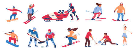 Winter sport. Cartoon people cold season activities. Isolated cute men and women skiing and snowboarding, bobsled and figure skating. Teams playing curling and hockey. Vector games flat set
