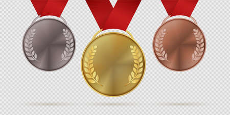 Gold silver and bronze trophy medals. First, second, third place realistic medal with laurel leaves hanging on red ribbons, collection for championship winners award ceremony vector 3d isolated set