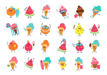 Ice cream funny stickers. Cartoon food mascot with anthropomorphic faces and limbs. Isolated collection of cold desserts, tropical fruits and berries or cupcakes. Summer vacation talismans, vector set
