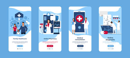 Mobile application of medical service. Smartphone interfaces. Online consultation and diagnostic. Ordering medicines and making appointment with doctor. Modern touchscreen device templates, vector set