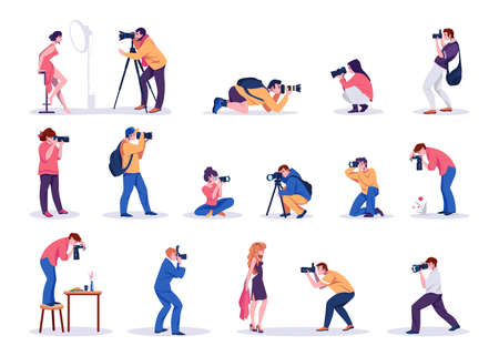 Photographers. Cartoon young men and women shoot photographs. People taking pictures of celebrity and models, food or plants. Professional cameras and studio equipment. Vector paparazzi isolated set 向量圖像