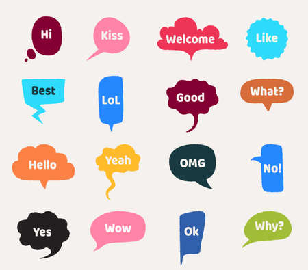 Speech bubbles. Cartoon talk cloud with text. Short emotional phrases. Interrogative and greeting lettering, words for expressing agreement or disagreement. Isolated colorful web stickers, vector set Stock Illustratie
