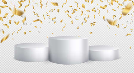 Winner podium golden confetti background. White cylinder podium realistic mockup. First second third place award ceremony, championship winners award ceremony vector 3d isolated concept on white
