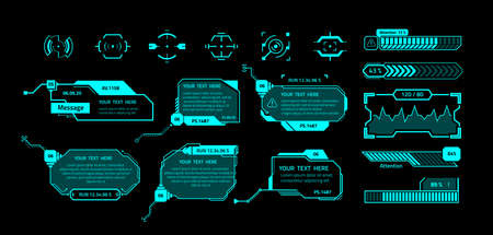 HUD banners. Futuristic interface elements with copy space. Callout message boxes and infographics, weapon sights. Isolated neon borders with text on black background. Fluorescent frames, vector set