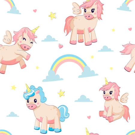 Unicorn pattern. Seamless texture with fairy tale animals and clouds or stars, hearts or rainbows. Cheerful horned pink and blue horses. Decorative print for kids textile and wallpaper, vector ponies