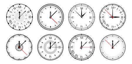 Clock. Realistic watches, circle dial with roman numbers and arrows. Isolated retro chronometer design. Outline timepiece with hour, minute and second hands. Round mechanical clockwork, vector set