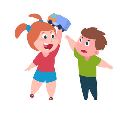 Bad behavior. Cartoon brother and sister quarrel. Cute girl teases boy with toy. Isolated children arguing. Conflicts between older and younger kids in family. Vector relationship flat illustration 向量圖像
