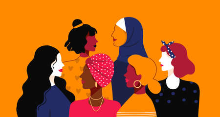 Women empowerment. Cartoon young people of different nationalities and religions. Female power community, happy sisterhood union. Solidarity team and friendly support, vector minimalist illustration Vector Illustration
