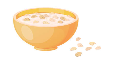 Porridge. Cartoon plate with oatmeal or muesli. Isolated oat bowl and scattered flakes. Traditional morning food. Healthy meal for breakfast cooking from cereal. Vegan product, vector illustration