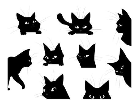Funny looking cat. Cartoon black pet silhouette, cute kitten playing and spying or hunting. Isolated hand drawn kitty peeking out corners. Decorative template with domestic animal, vector flat set