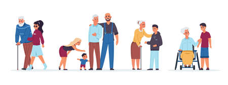 Old people with relatives. Cartoon men and women support senior parents. Cheerful families with children and elderly members.