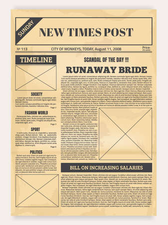 Vintage newspaper. Old realistic pages with headers and place for pictures, retro article layout. Publication design with column and calligraphic font for headlines. Vector Illustration