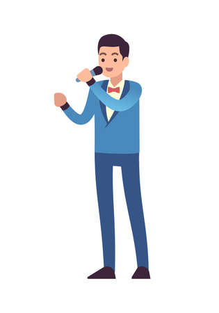 Classical musicians. Vocalist singers performing, symphony entertainment concert, man with microphone and sings song in blue suit, vector flat style cartoon isolated on white single male character 矢量图像