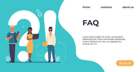 FAQ landing page. People ask questions. Online support service. Advice and recommendations for solution problems. Website design, colorful interface with buttons and lettering.