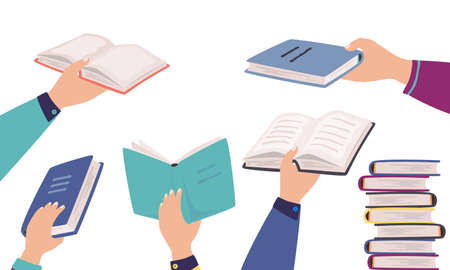 Hands holding books. Cartoon men and women reading literature. Isolated opened textbooks in human arms and stacks of publications in hardcover. Leisure pastime in library. Ilustrace