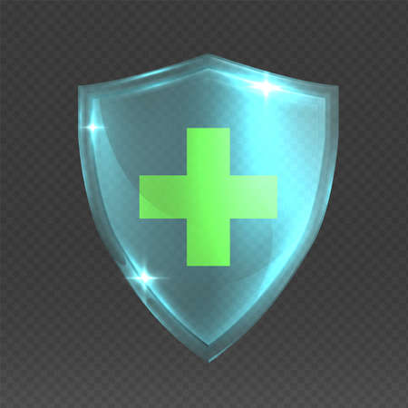 Shield with cross. Realistic 3D glass armor. Medical protective symbol, health care shiny badge on transparent background. Isolated decorative mockup for insurance and pharmacy. Vector guard sign