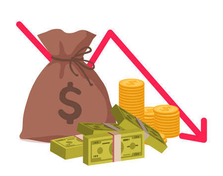 Money loss. Economic crisis or bankruptcy. Cartoon bag with gold coins and bundles of banknotes. Graph of falling financial indicators. investment and income decline.