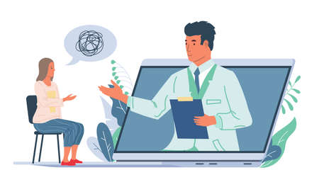 Online psychological support. Cartoon psychologist consulting patient through video call, cute woman talking about personal problems. Web medical specialists consultation.