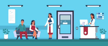 People waiting at clinic. Queue for doctors appointment. Cartoon hospital registration with friendly workers. Cute young man and woman sitting on sofa in comfortable vestibule, vector illustration