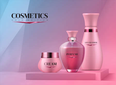 Podium with cosmetics. Realistic 3D pedestal and beauty product for branding. Collection of bottles with perfume and moisturizing cream or cleanser gel on square platform. Ilustrace