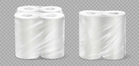 Realistic paper towel. 3D tissue rolls. White textured disposable toilet tape on transparent background. Isolated bathroom or kitchen soft absorbent accessories in cellophane packaging.