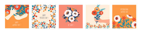 Floral banners. Cartoon square posters with cute blooming bouquets and hands holding flowers. Colorful greeting cards and decorative plant elements. Congratulations on womens day.