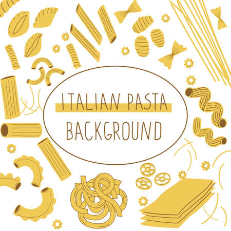 Pasta background. Doodle framing of different types of Italian traditional pasta, restaurant or cafe menu with raw macaroni. Circle frame with hand drawn noodles vector flyer layout with spaghetti. Ilustrace