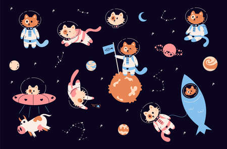 Space cats. Cartoon funny kitties in spacesuits with helmets. Childish astronaut animals in zero gravity. Cute kittens flying on spaceship or rocket. Cosmonauts exploring galaxy. Ilustrace