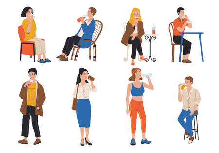 People drink. Cartoon men and women holding bottles, cups and glasses. Isolated cute drinking persons at home and in restaurant or outdoor. Young males and females with beverages.