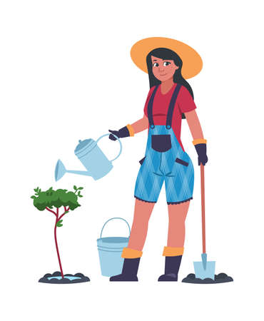 Woman working in garden. Cartoon young female planting and watering tree. Cute gardener with shovel and bucket. Isolated farmer taking care of shrubs.