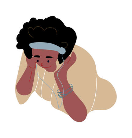 Cartoon man listen music. Dancing young character with mobile and red headphones. Boy with smartphone singing song leisure time, entertainment concept modern flat vector isolated on white illustration. Ilustração