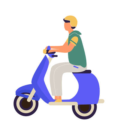 Man riding on motorbike. Cartoon teenager in helmet driving scooter. Urban electric vehicle. Side view of young male with motorcycle. Isolated cute driver moving around city, vector illustration