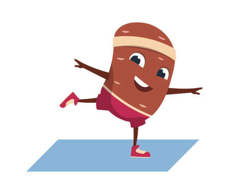 Cartoon potato. Funny vegetable character doing exercises. Yoga poses. Sport activity at home or in gym. Isolated cute mascot with smiling face and limbs.