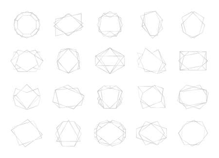 Polyhedron frame. Silver empty multangular borders. Abstract geometric shapes with copy space. Collection of modern blank frameworks templates.