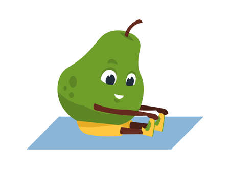 Fruit yoga. Cartoon funny pear doing sport exercises. Cute smiling plant character training at home and gym. Isolated comic mascot of active lifestyle.