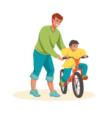 Family scenes. Dad teaches son to ride bike, happy father and little boy spend time together outdoors, kid riding bicycle.