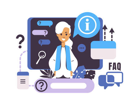 Call center and customer support. Frequently asked questions. Isolated cartoon woman with speech bubbles. Online assistance for electronic device users. Vector FAQ concept Stock Illustratie