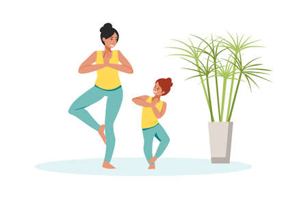 Family scenes. Mother and daughter do yoga, happy mom and little girl spend time together, parenthood and childhood concept. Ilustrace