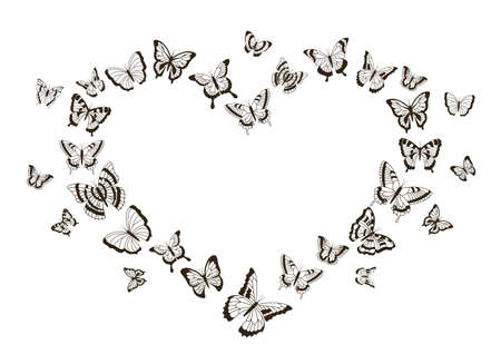 Monochrome heart of butterflies. Outline flying insects with detailed wings. Isolated black and white tattoo shapes. Ilustrace