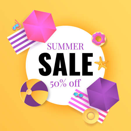 Summer sale banner. Seasonal discount. Cartoon promotion poster. Special offers and price reduce in shops. Colorful flyer with decorative beach elements and lettering.