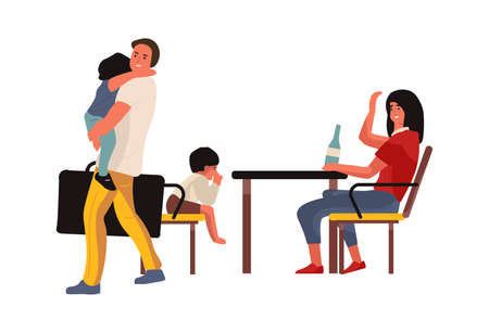 Family conflict. Mother and father brawling. Man and woman quarreling in presence of kids. Conflicting people and problems in relationship. Ilustrace