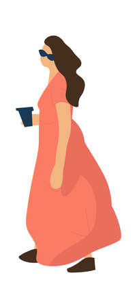 Trendy woman. Cartoon female wearing long dress and sunglasses. Isolated cute person walking alone with cup of coffee. Summer casual outfit for city or resort. Ilustrace