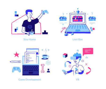 Game development concept. Doodle VR gaming. Cartoon boys holding joystick and wearing virtual reality glasses. Modern laptop interface for coding or programming.