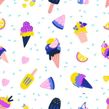 Ice cream pattern. Seamless texture of summer dessert. Cartoon vanilla or chocolate balls in waffle cones and frozen juice. Tasty pieces of fruits and berries. Vector decorative template for textile