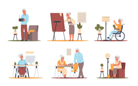 Senior people at home. Pensioners hobby. Elderly cartoon characters playing card games, watching movies and talking, drawing picture, listening radio, playing chess. Ilustrace
